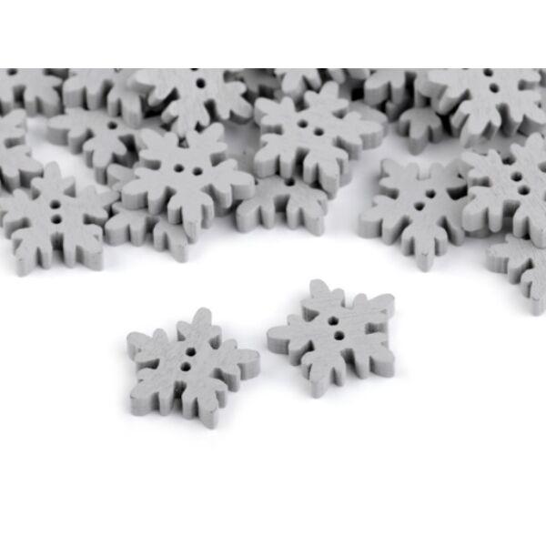 Szürke hópihe formájú fa gombcsomag - 18mm - 10db