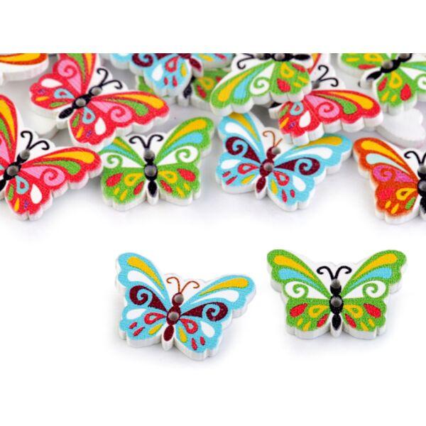 Pillangó formájú színes fa formagomb csomag - 10db