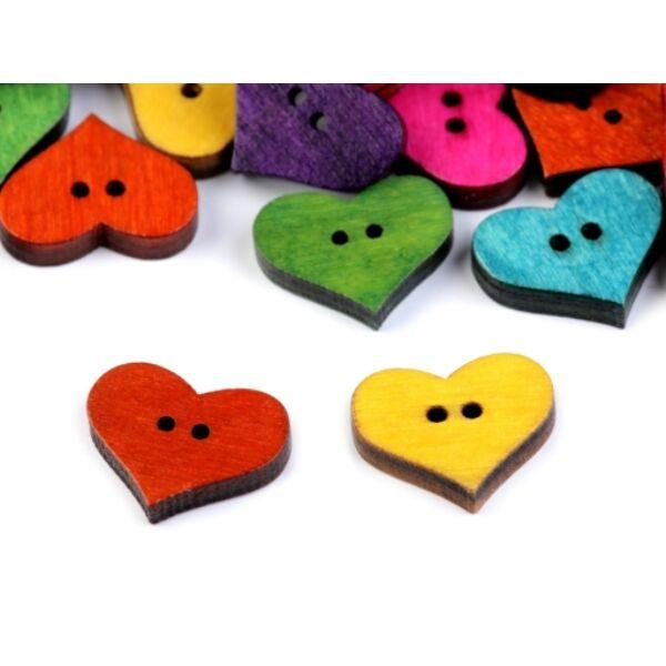 Duci szív alakú fagomb csomag - színes