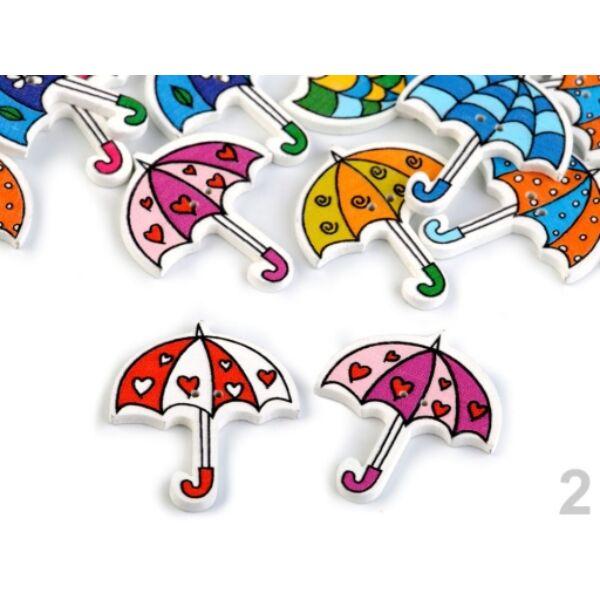 Esernyő formájú színes fa formagomb csomag - 10db