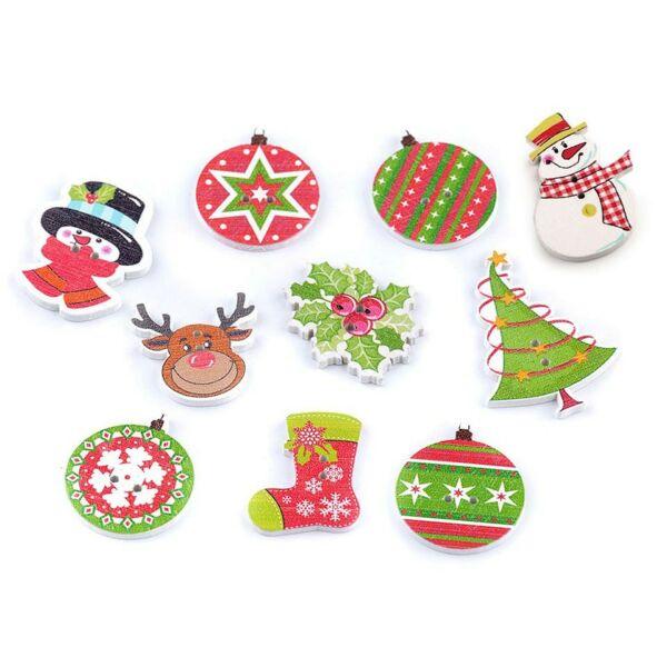 Karácsonyi figurák - vegyes színes fa formagomb csomag