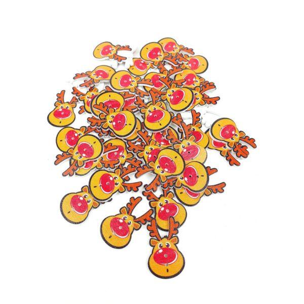 Piros orrú réénszarvas - színes fa formagomb csomag - 10db