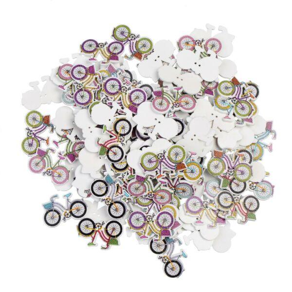 Bicikli formájú színes fa formagomb csomag