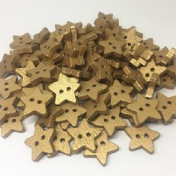 Csillag alakú fa gombcsomag - arany - 10db