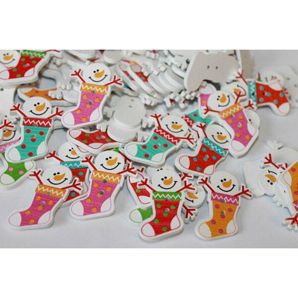 Karácsonyi hóemberes csizmácskák - színes fa formagomb csomag - 10db