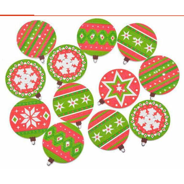 Piros zöld karácsonyfadísz fa formagomb csomag - 10db