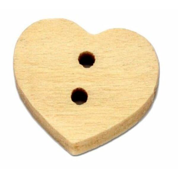 Pici szív alakú fagomb csomag - natúr