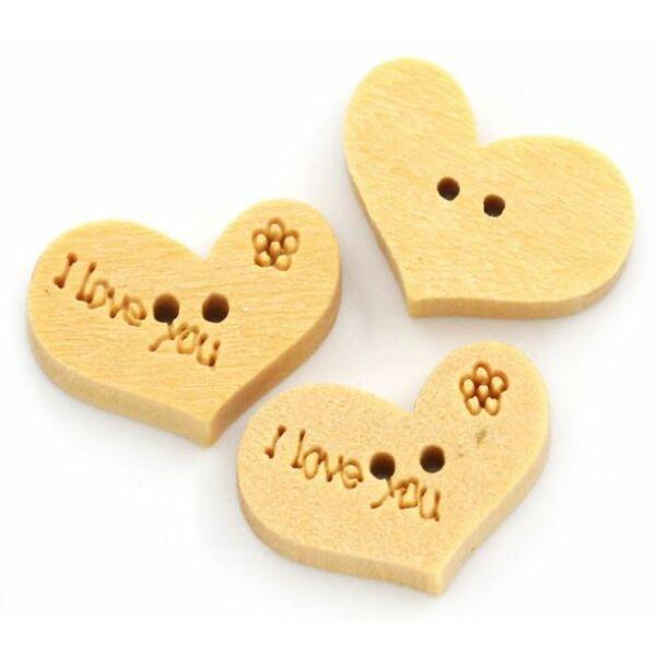 Szív alakú fa gombcsomag - I love you