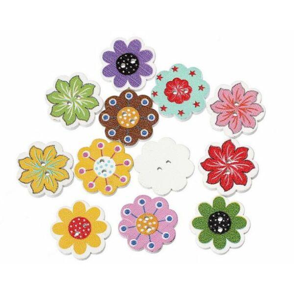Virág formájú mintás fa formagomb csomag
