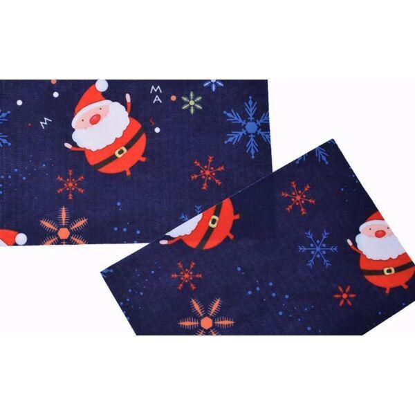Karácsonyi mintás barkácsfilc - sötétkék mikulás