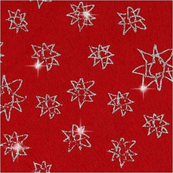 Csillogó csillag mintás barkácsfilc - merev - piros
