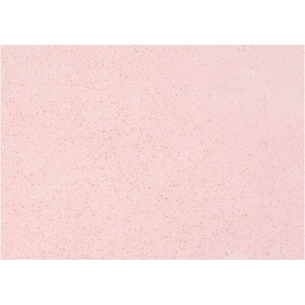 Csillámos barkácsfilc - merev - világos rózsaszín