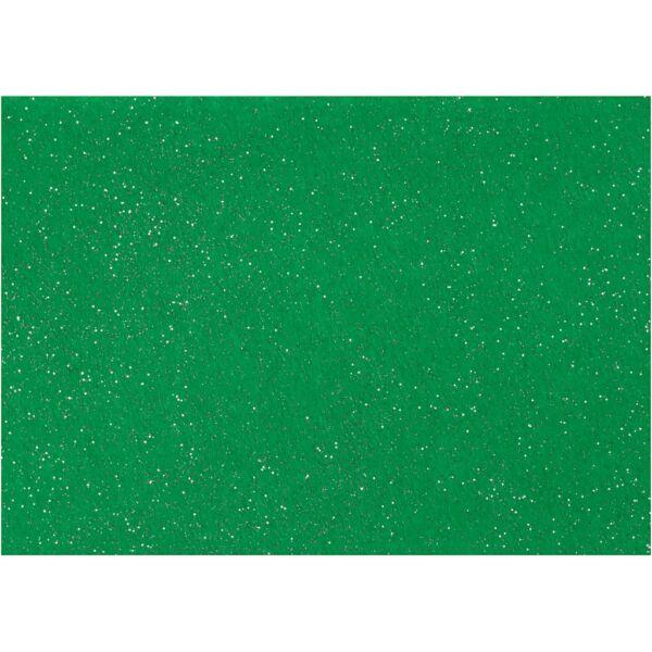 Csillámos barkácsfilc - merev - zöld