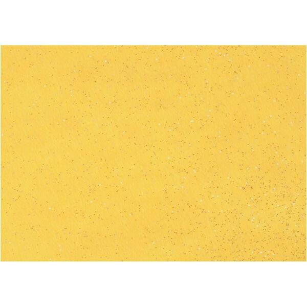 Csillámos barkácsfilc - merev - sárga