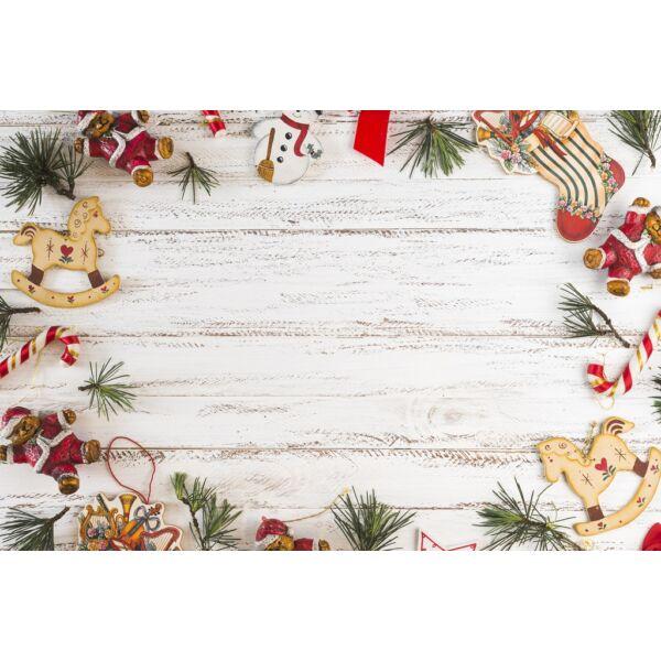 Fotóháttér - karácsonyi - hintalovak kopott fehér fa deszkán - 40cm x 60cm