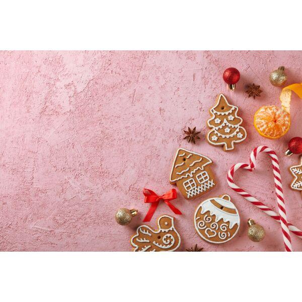 Fotóháttér - karácsonyi - édességek rózsaszín alapon - 40cm x 60cm