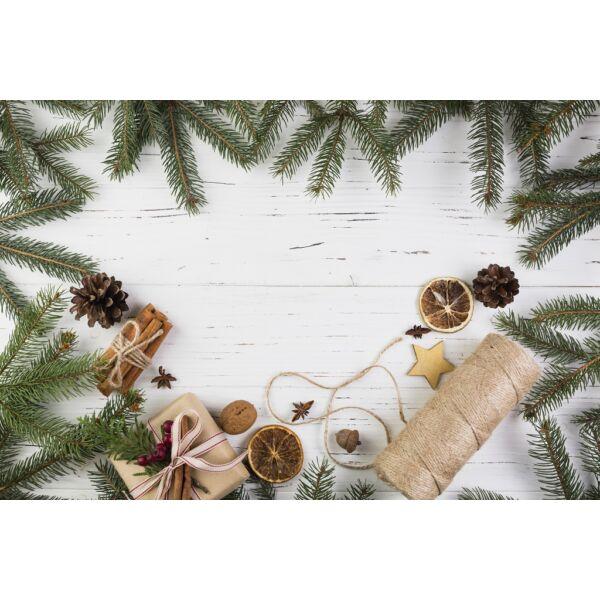 Fotóháttér - karácsonyi - természetes dekorációk kopott fehér fa deszkán - 40cm x 60cm