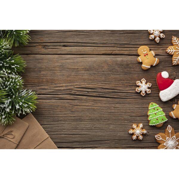 Fotóháttér - karácsonyi - mézeskalács sötétbarna fa deszkán - 40cm x 60cm