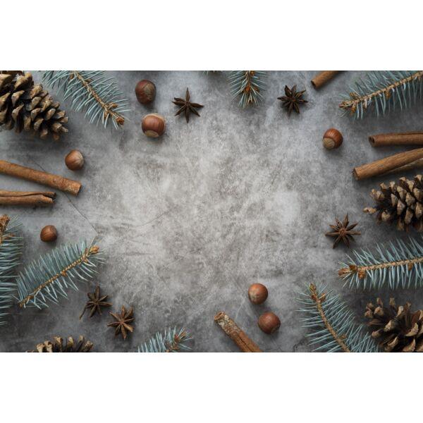 Fotóháttér - karácsonyi - fahéj és mogyoró szürke betonon - 40cm x 60cm