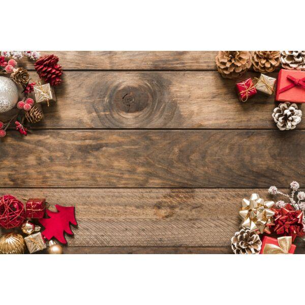 Fotóháttér - karácsonyi - barna fa deszkák sarok díszítéssel - 40cm x 60cm