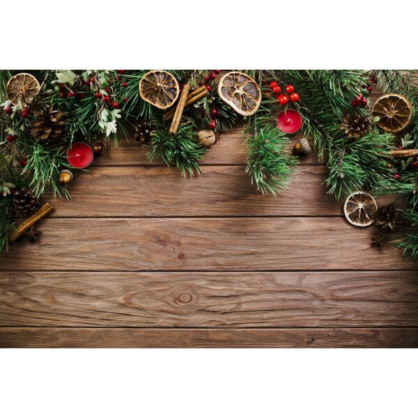 Fotóháttér - karácsonyi - barna fa deszkák felső díszítéssel - 40cm x 60cm