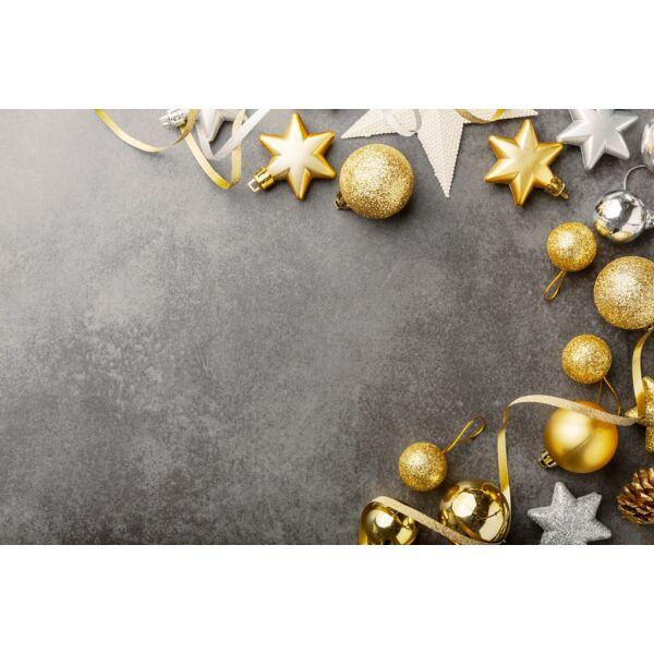 Fotóháttér - karácsonyi - arany ezüst díszek szürke beton alapon - 40cm x 60cm