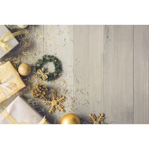 Fotóháttér - karácsonyi - arany ezüst díszek fa deszkán - 40cm x 60cm