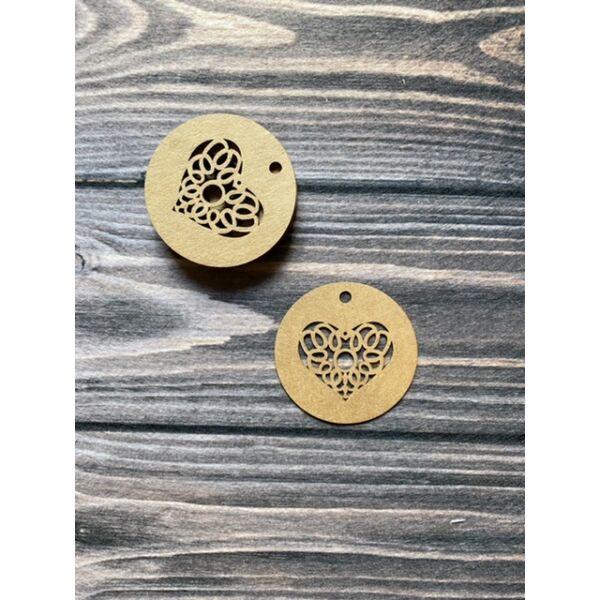 Kraft papír szív mintás kerek ajándékkísérő kártya - 10db