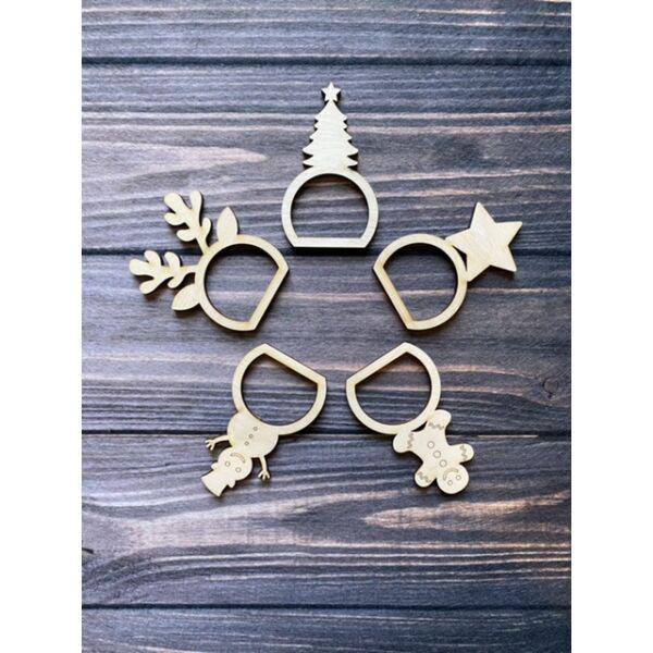 Nyír furnér szalvétagyűrű csomag  - karácsony - 5db