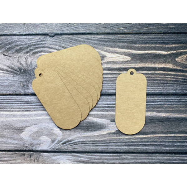 Kraft papír sima hosszúkás ajándékkísérő kártya - 10db