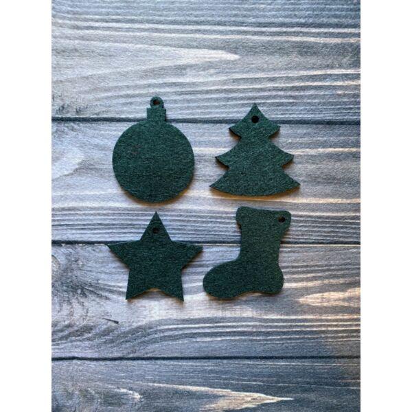 3mm vastag filc dekorációs csomag - karácsony - 8db - sötétzöld