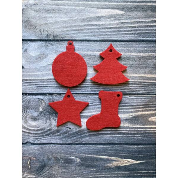 3mm vastag filc dekorációs csomag - karácsony - 8db - piros