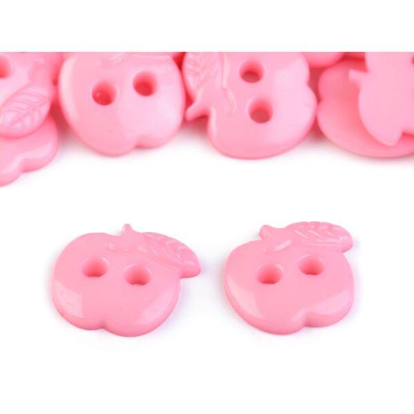 Alma formájú műanyag gombcsomag - rózsaszín
