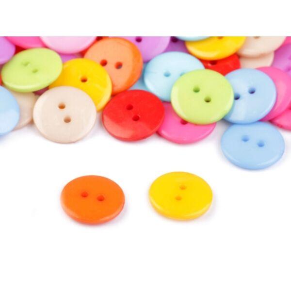 Egyszínű, színes műanyag gombcsomag - 15mm