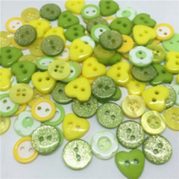 Vegyes műanyag gombcsomag - zöld - 30db