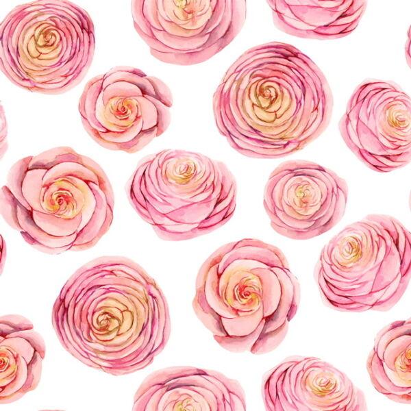 Mintás barkácsfilc méteráru - rózsaszín rózsafejek