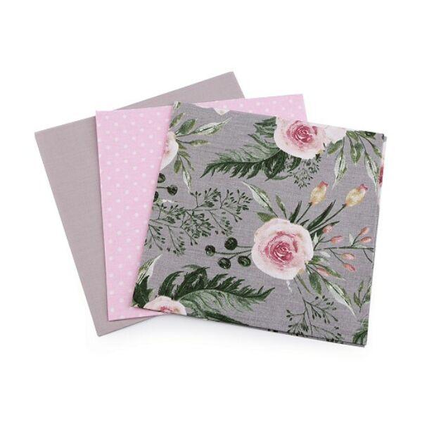Mini pamutvászon csomag - rózsaszín és szürke virágos