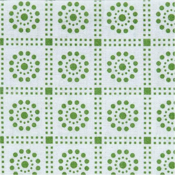 Organikus pamutvászon - London - zöld mintás