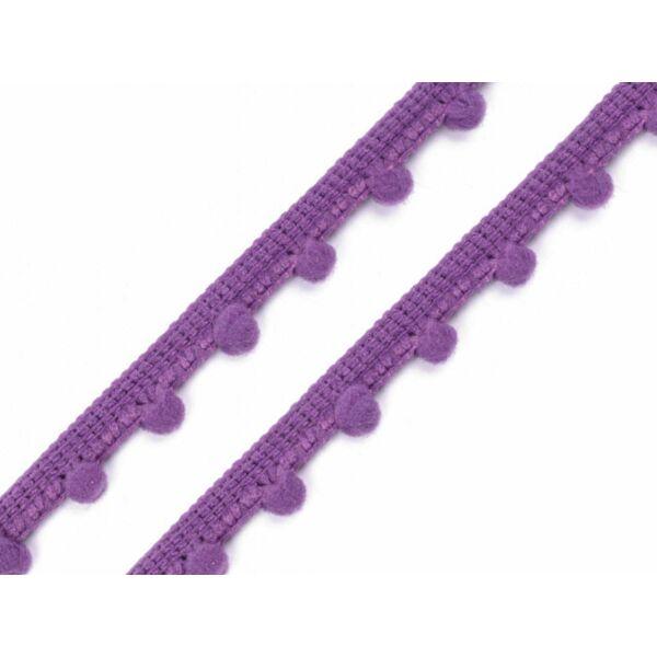 Lila pom-pom szalag - 7mm