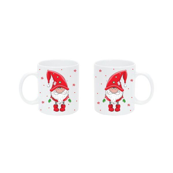 Pulee kerámia bögre - Karácsonyi manó - piros