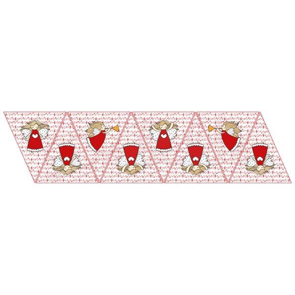 Banner mintás barkácsfilc - piros kottás angyalok