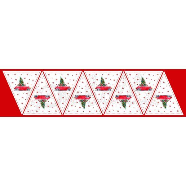 Banner mintás barkácsfilc - karácsonyi piros autó