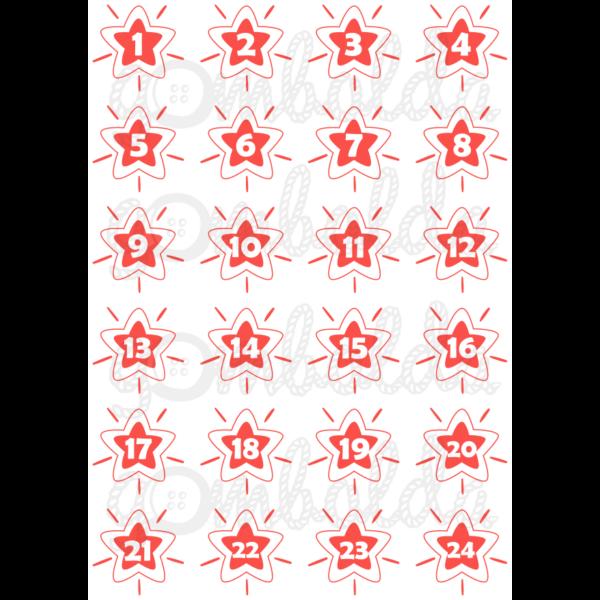 Mintás barkácsfilc - adventi számok csillagokban - piros