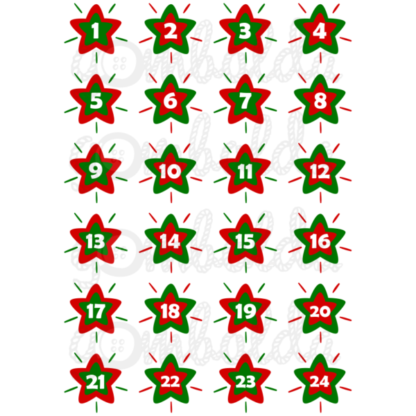 Mintás barkácsfilc - adventi számok csillagokban - piros zöld