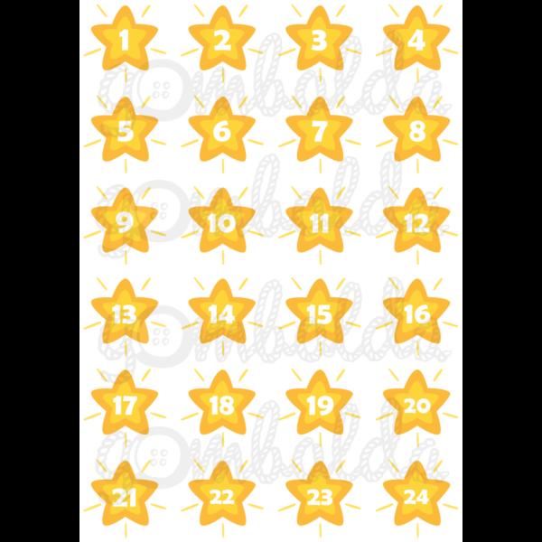 Mintás barkácsfilc - adventi számok csillagokban - sárga