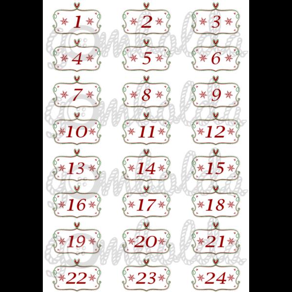 Mintás barkácsfilc - adventi számok keretben - piros zöld