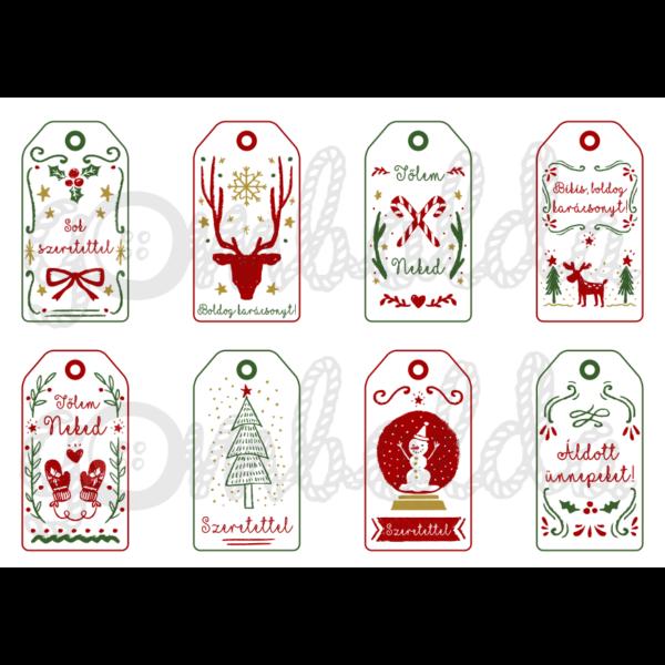 Mintás barkácsfilc - karácsonyi ajándékkísérő kártyák - piros zöld