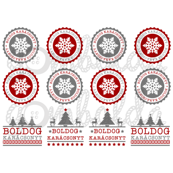 Mintás barkácsfilc - boldog karácsonyt címkék - szürke piros
