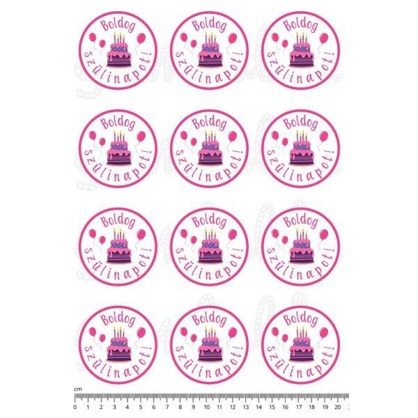Mintás barkácsfilc - Boldog szülinapot! - tortás kör - rózsaszín pici