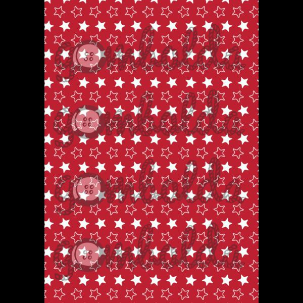 Mintás barkácsfilc - piros alapon fehér csillagok